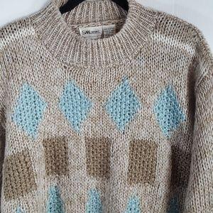 SML Sport Sweaters - SML Sport | Vintage Sweater Tan Blue Chunky Size M